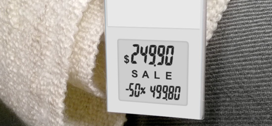 electronic price tag in furniture store